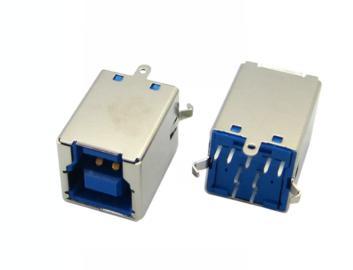 打印机接口 B型母座 3.0 USB母插座 弯脚90度 方型口 卧式
